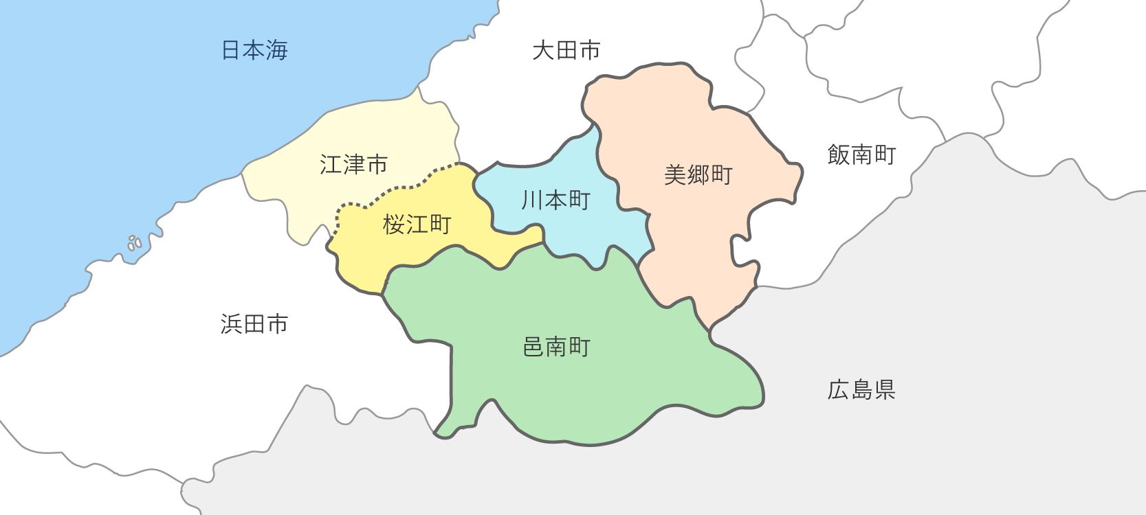 おおち・さくらえ地域のエリアマップ